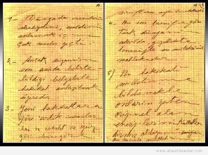 Atatürk'ün kaleminden notlar